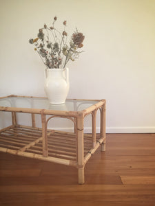 rectangular cane coffee table