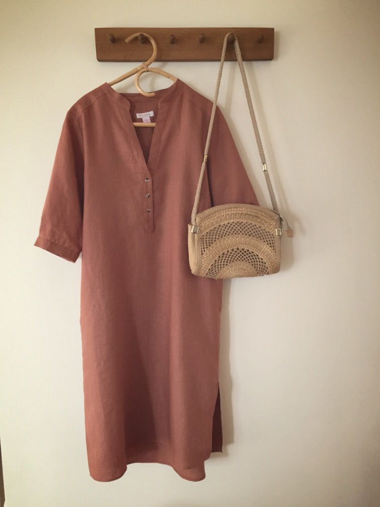 SOLD OUT - 100% linen 3 button dress - ochre