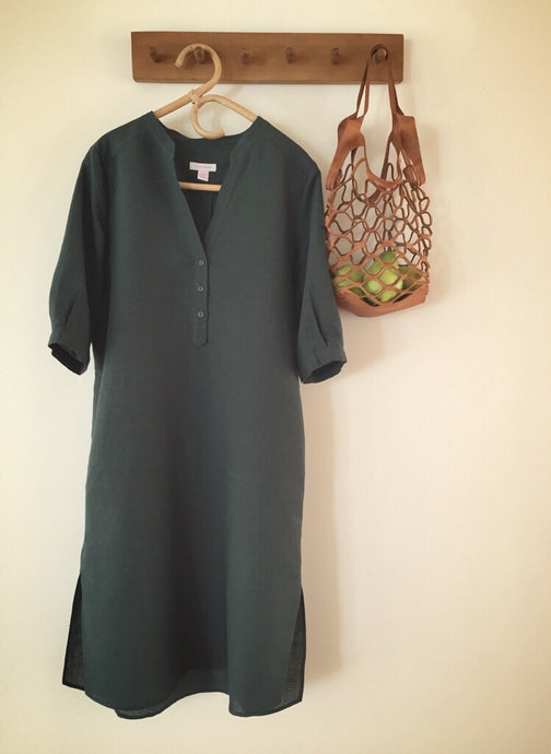 SOLD OUT - 100% linen 3 button dress - jungle
