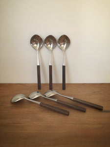 Danish wooden handled soup spoons