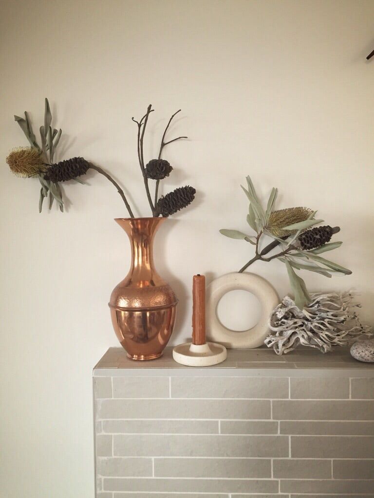 textured copper vase