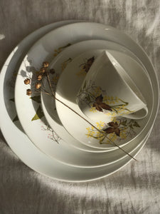 Set of 4 medium Crown Lynn dinner plates