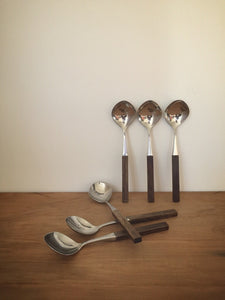 Danish wooden handled dessert spoons