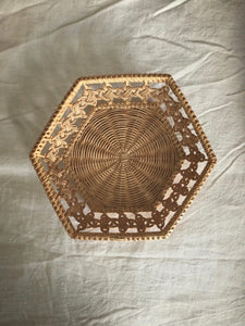 Intricately woven hexagon cane basket