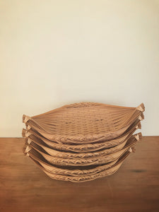 cane boat bread baskets - set of 6