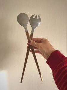 Stainless steel wooden handled serving spoons