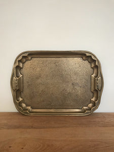 Brass flora patterned tray