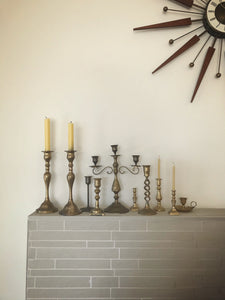 Triple brass candlestick