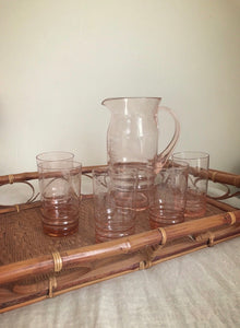 Etched rose tinted set of glasses & jug