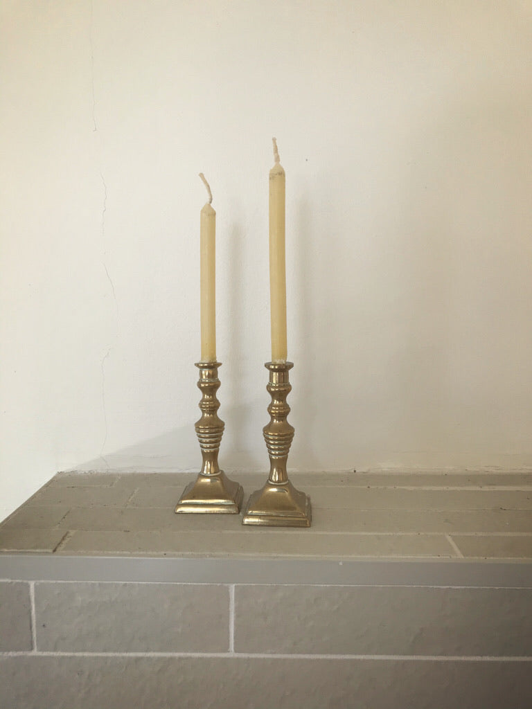 pair of mini brass candlesticks