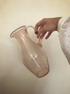 Rose tinted etched glass pitcher