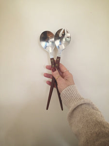 japanese wooden handled serving spoons