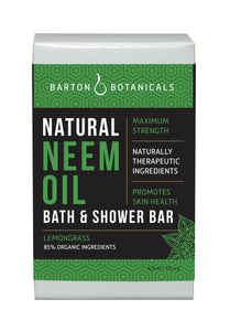 Barton Botanicals Neem Oil Bath and Shower Soap Bar, lemongrass scented
