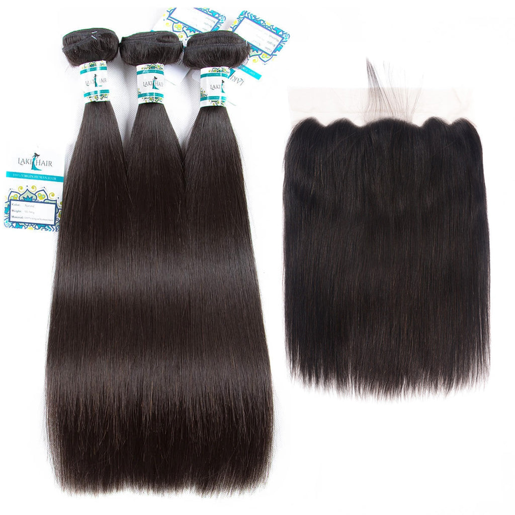 Lakihair 8A Brazilian Straight Human Hair Bundles With Lace Frontal 13x6 Ear to Ear PrePlucked