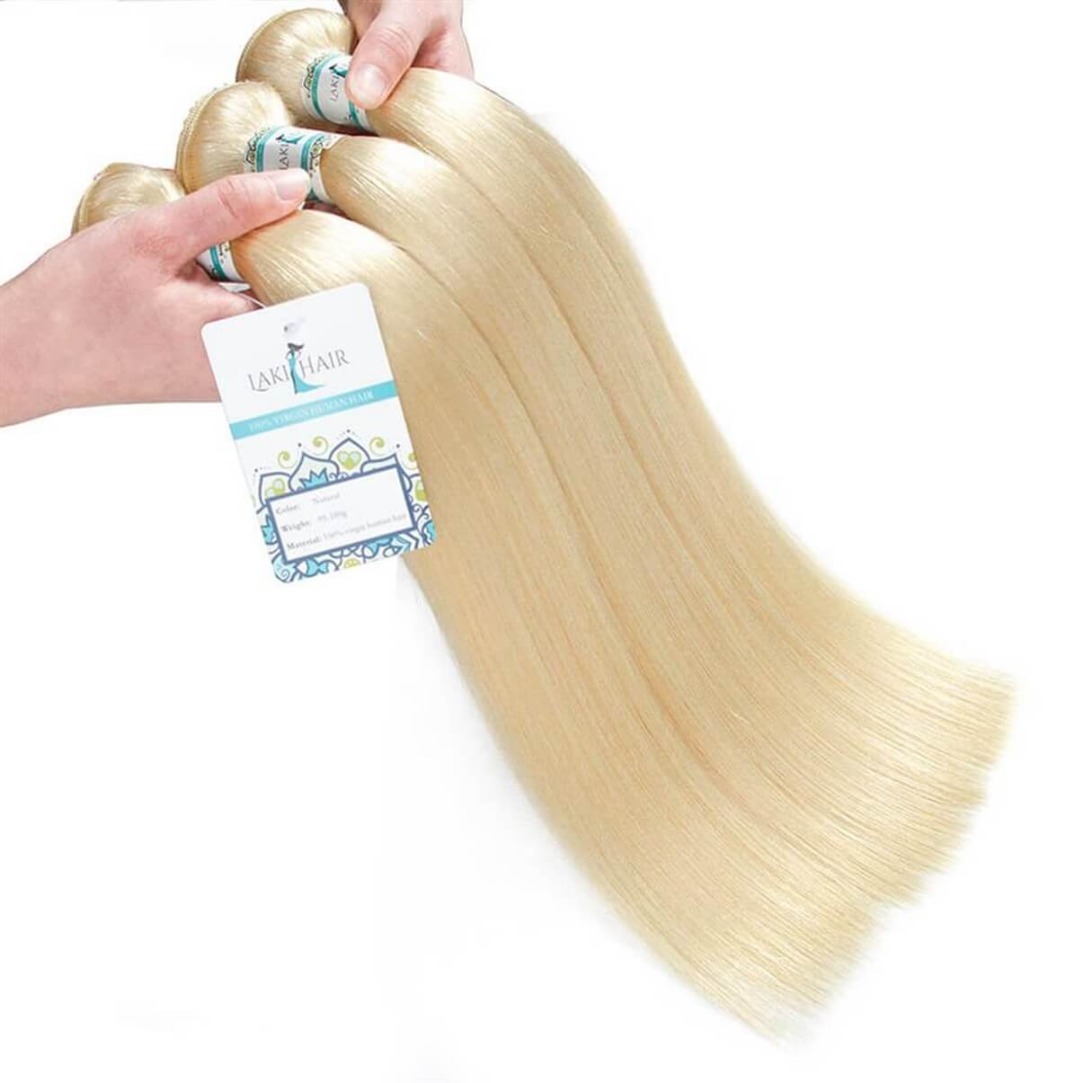 Lakihair 10A 613 Blonde Hair Bundles Virgin Brazilian Straight Hair 3 Bundles Hair Extensions
