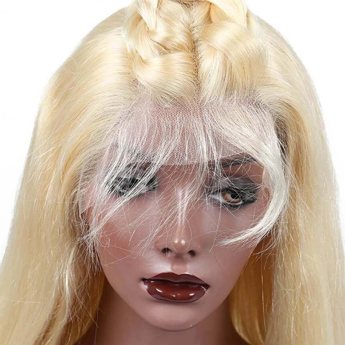 Lakihair 613 Blonde Color Virgin Brazilian Straight Lace Wigs Pre Plucked Glueless Lace Front Human Hair Wigs