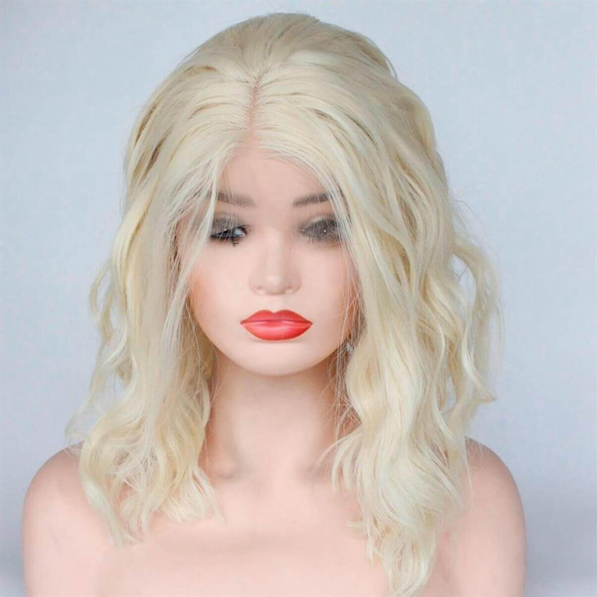 Lakihair 613 Blonde Body Wave Short Lace Front Human Hair Wigs Blonde Short Bob Lace Wigs Brazilian Virgin Human Hair 180% Density Pre Plucked Hairline