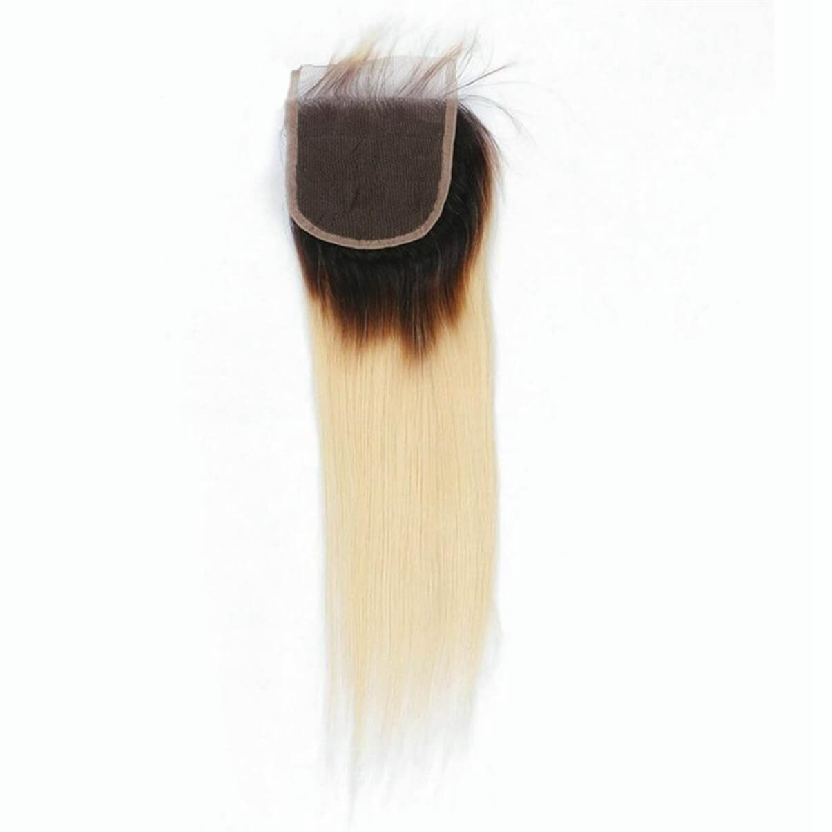 Lakihair 8A 1B/613 Blonde Ombre Straight Lace Closure 4x4 Brazilian Virgin Human Hair