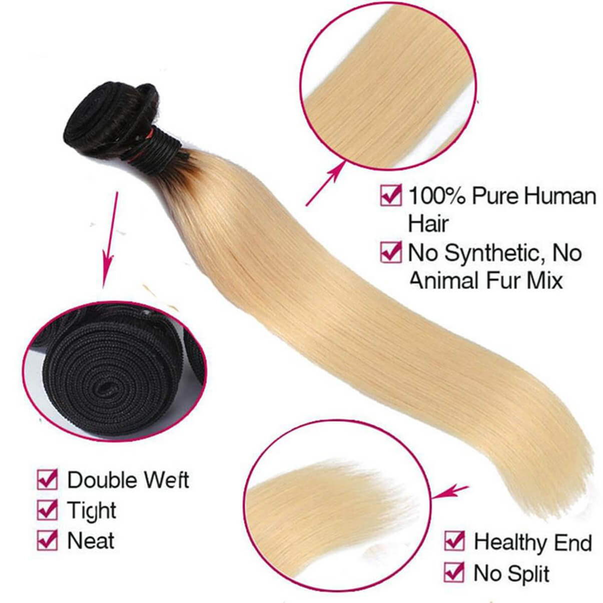 Lakihair 8A Brazilian Straight Hair Bundles 3 Bundles 1B/613 Blonde Ombre Unprocessed Virgin Human Hair Extensions
