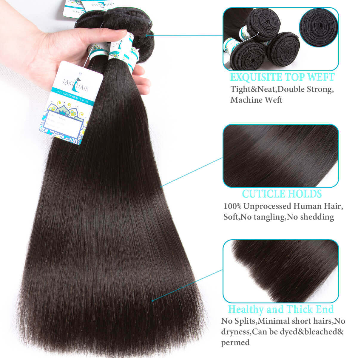 Lakihair Virgin Human Hair Bundles 4 Bundles Straight Hair Unprocessed Human Hair Weaving