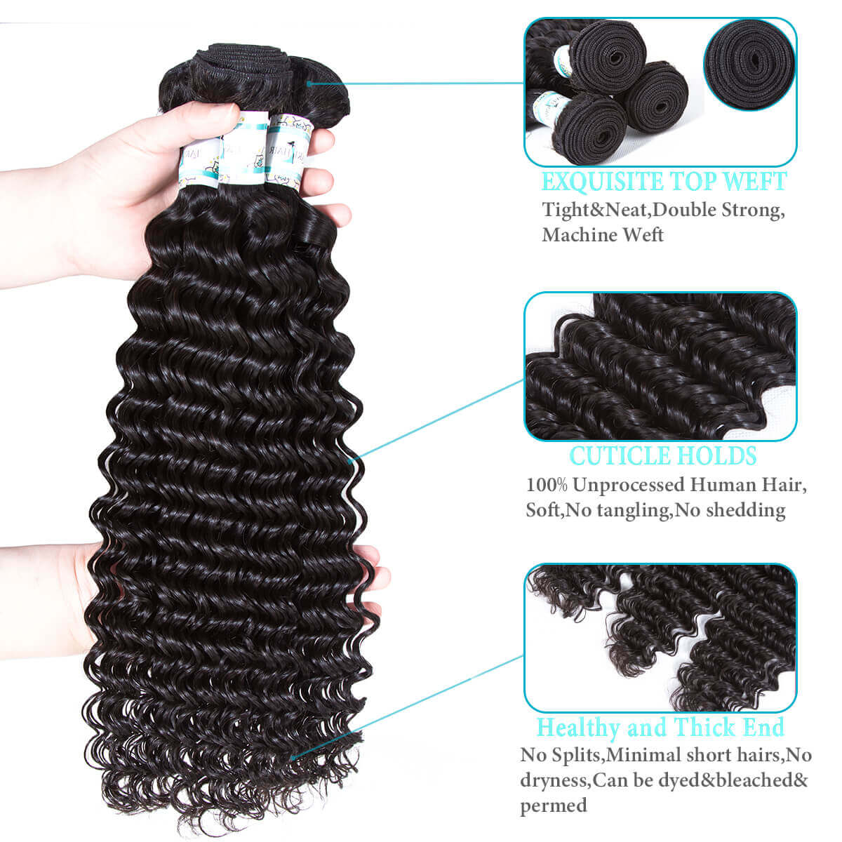 Lakihair 8A Brazilian Deep Wave Human Hair 3 Bundles With Lace Closure 4x4 Virgin Human Hair Weaves