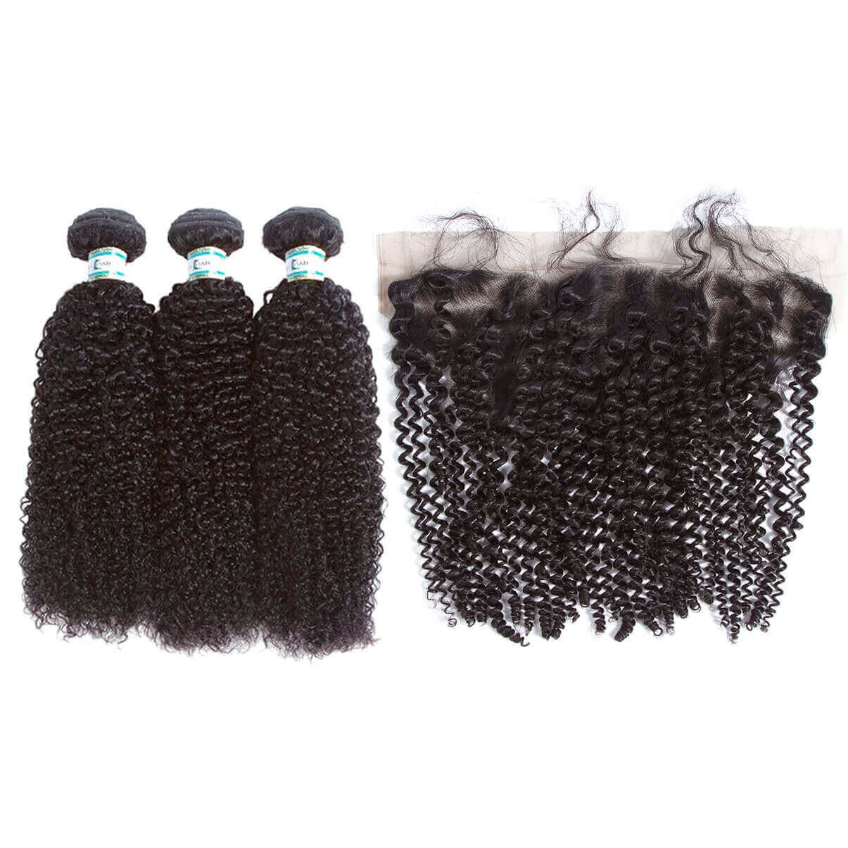 Lakihair 8A Kinky Curly 3 Bundles With Frontal Closure 13x4 Brazilian Virgin Human Hair Bundles