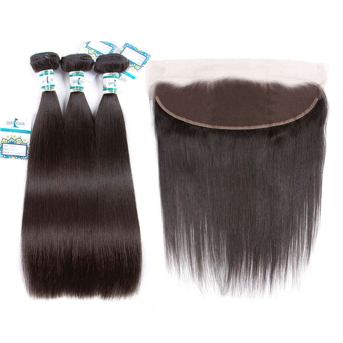 Lakihair 8A Brazilian Virgin Human Hair Straight Hair 3 Bundles With 13x4 Lace Frontal Closure