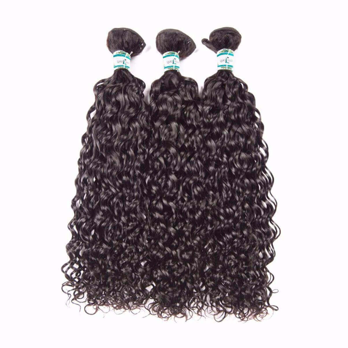 Lakihair 8A Brazilian Water Wave 3 Bundles With Lace Closure 4x4 Virgin Human Hair Bundles