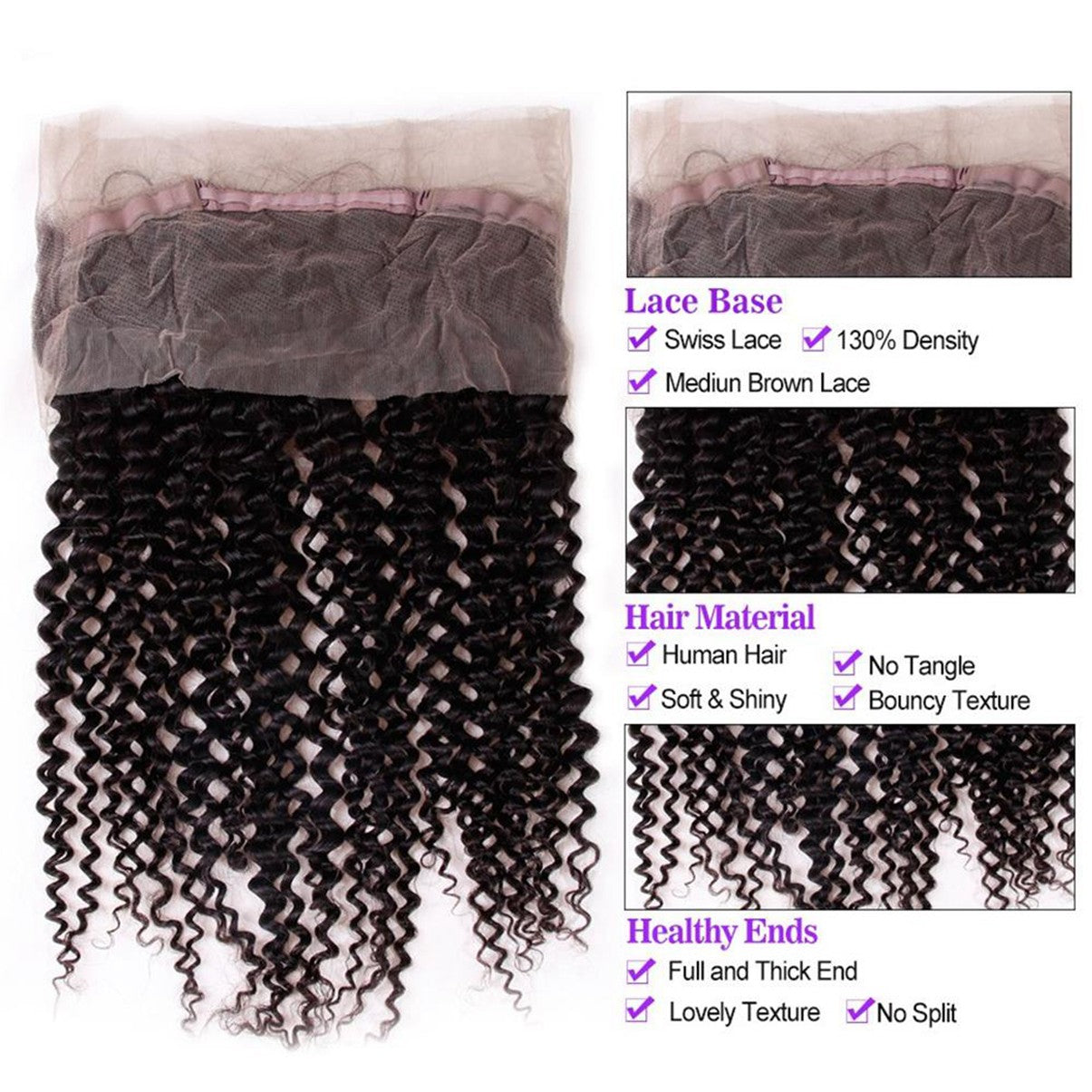 Lakihair 8A Grade Virgin Human Hair Kinky Curly Hair Extensions 2 Bundles With 360 Lace Frontal
