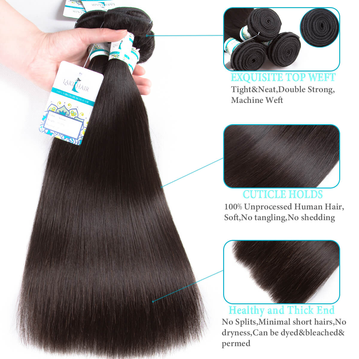 Lakihair 8A Grade Virgin Human Straight Hair 2 Bundles With 360 Lace Frontal