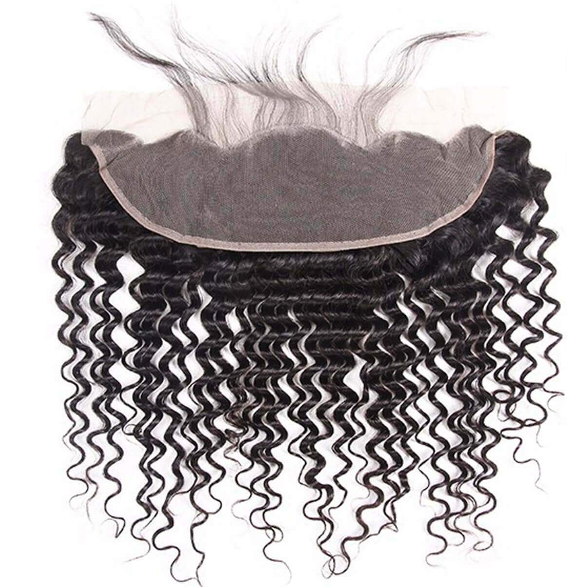 Lakihair 8A Virgin Human Hair Brazilian Deep Wave 4 Bundles With Lace Frontal Closure 13x4