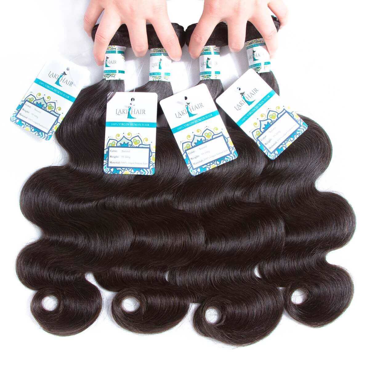 Lakihair Human Hair Bundles Body Wave 4 Bundles Brazilian/Indian/Peruvian/Malaysian Hair
