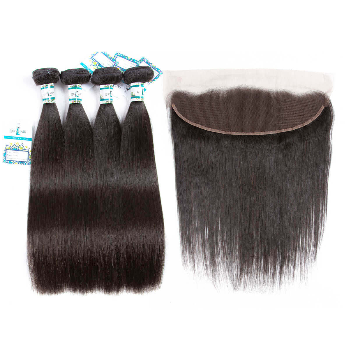Lakihair 8A Virgin Human Hair Brazilian Straight Hair 4 Bundles With Lace Frontal Closure 13x4 Pre Plucked With Baby Hair