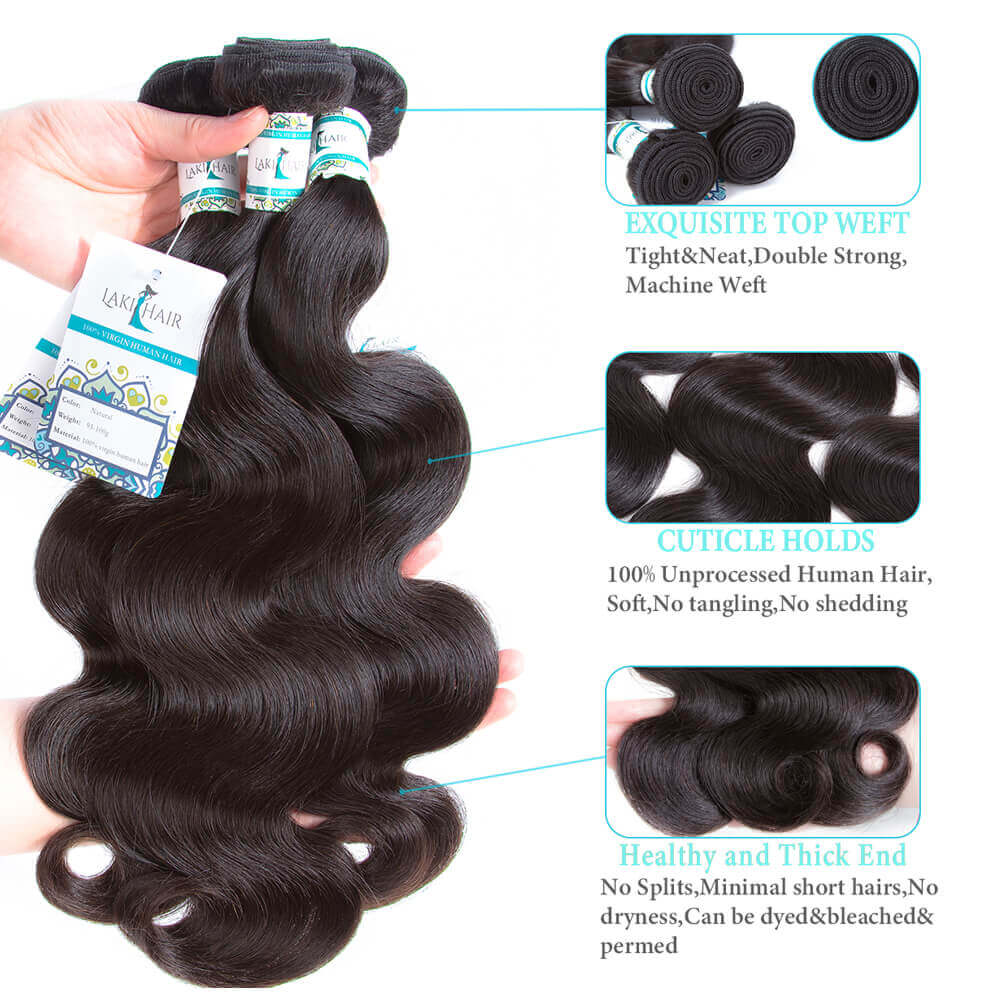 Lakihair Brazilian 8A Body Wave 3 Bundles With Closure 4x4 Virgin Human Hair Weave