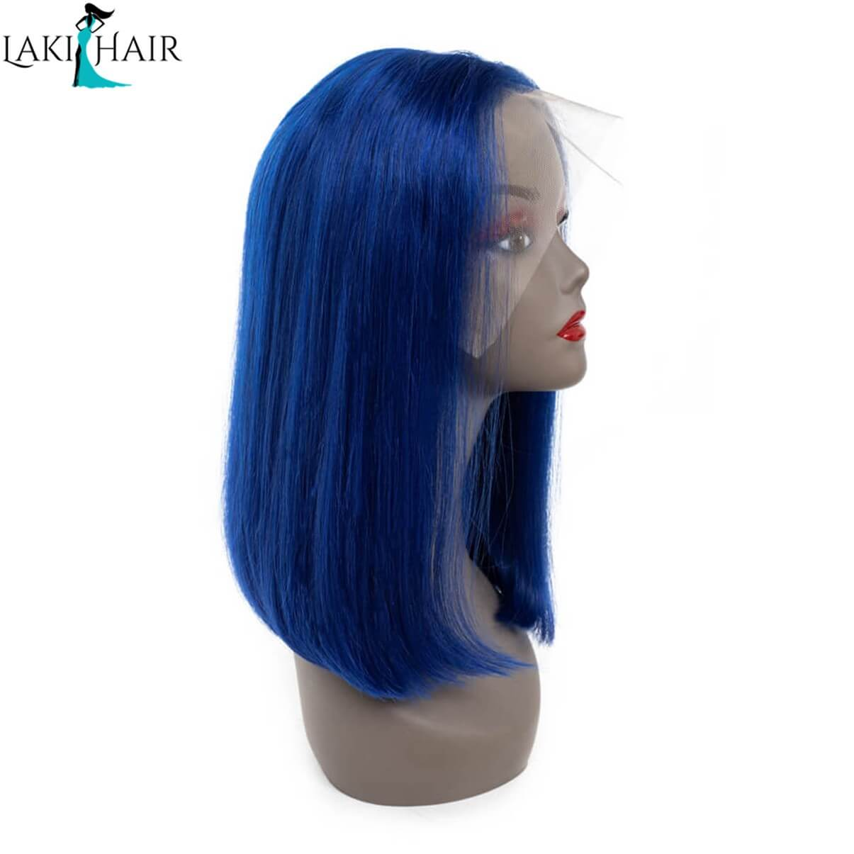 Lakihair Short Bob Straight Lace Wigs Colored Wigs Blue Short Lace Front Human Hair Wigs 180% Density Pre Plucked Hairline With Baby Hair