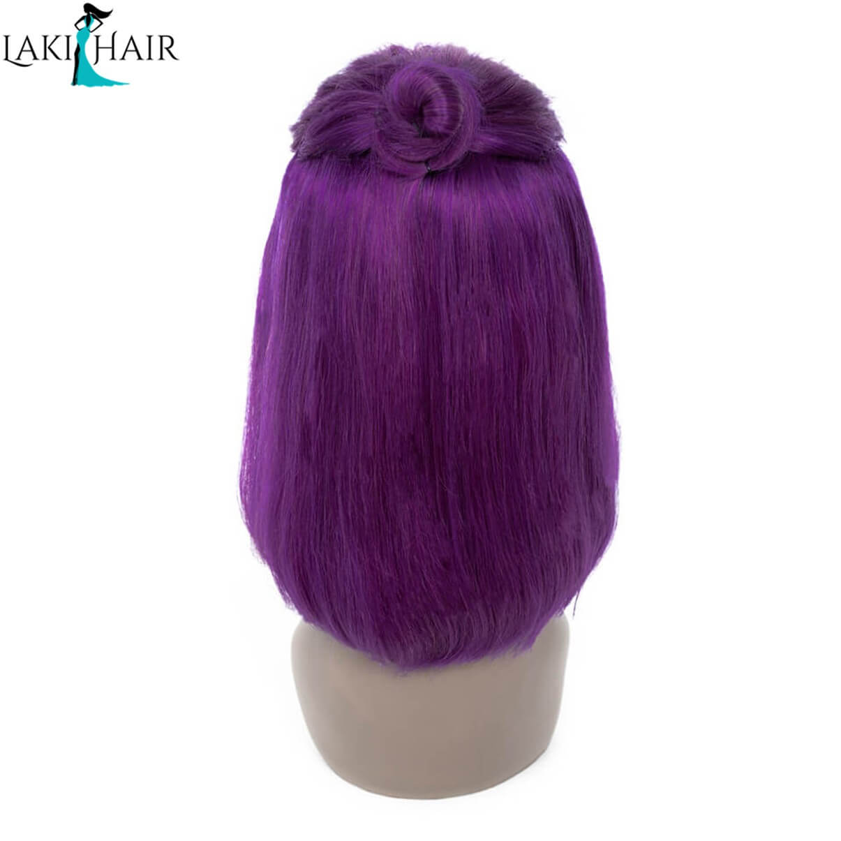 Lakihair Short Bob Straight Lace Wigs Purple Colored Wigs Short Lace Front Human Hair Wigs 100% Virgin Human Hair 180% Density Pre Plucked Hairline