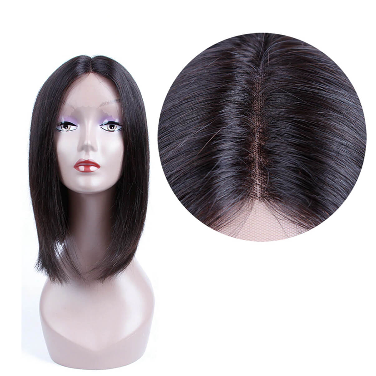 Lakihair Short Bob Wigs Virgin Brazilian Straight Hair Lace Front Wigs 180% Density U Part Bob Wigs With Baby Hair Bleached Knots