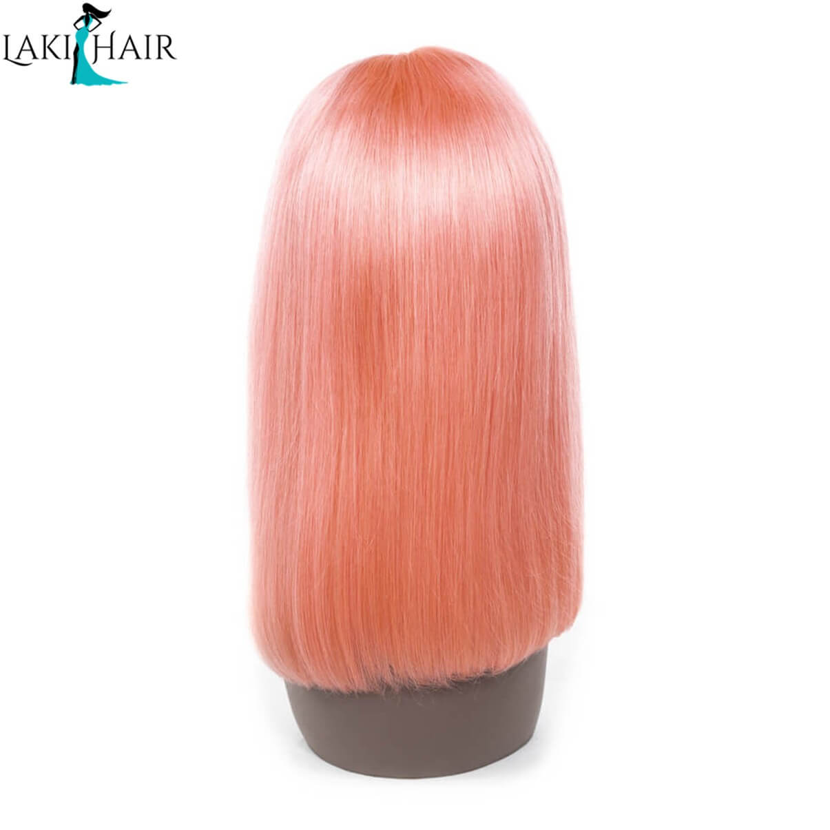 Lakihair Short Lace Front Human Hair Wigs Pink Blonde Short Bob Straight Lace Wigs Brazilian Virgin Human Hair 180% Density Pre plucked Hairline
