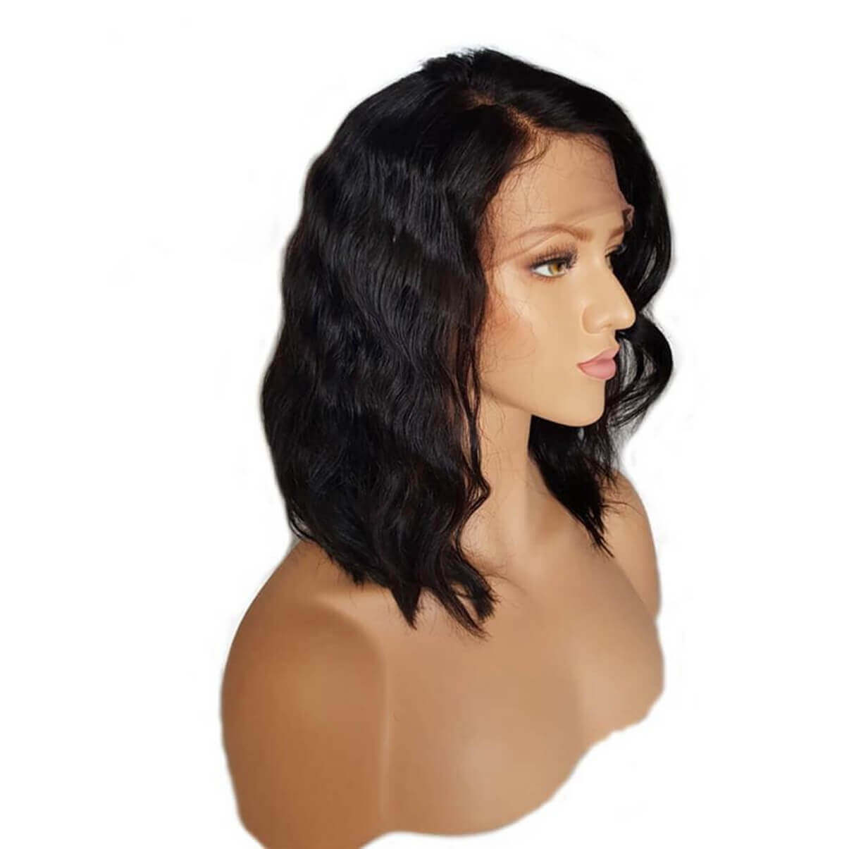 Lakihair Short Lace Front Human Hair Wigs Virgin Brazilian Body Wave Hair Bob Wigs Pre Plucked Hairline With Baby Hair Bleached Knots 180% Density
