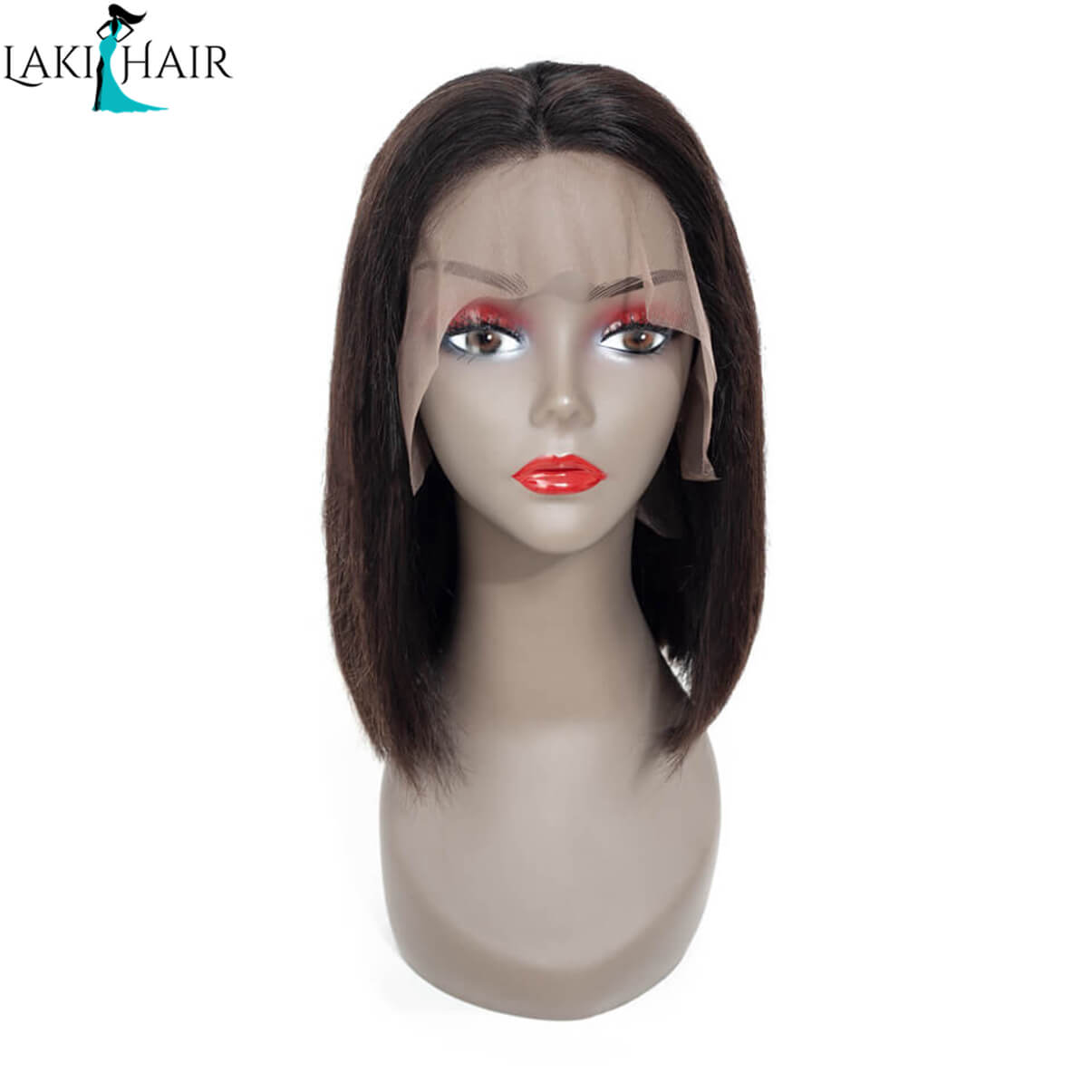 Lakihair Short Lace Front Human Hair Wigs Virgin Brazilian Straight Hair Bob Wigs With Pre Plucked Hairline Bleached Knots 180% Density