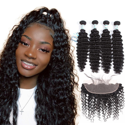 Lakihair 8A Indian Best Virgin Human Hair Deep Wave 4 Bundles With Lace Frontal Closure 13x4