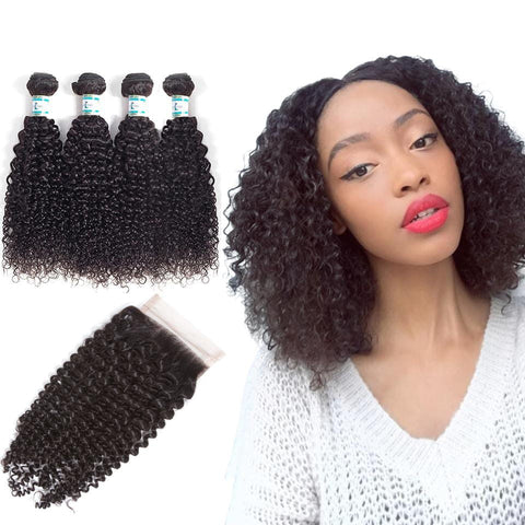 Lakihair Unprocessed Virgin Human Hair Bundles With Lace Frontal Closure Malaysian Kinky Curly 4 Bundles With Closure