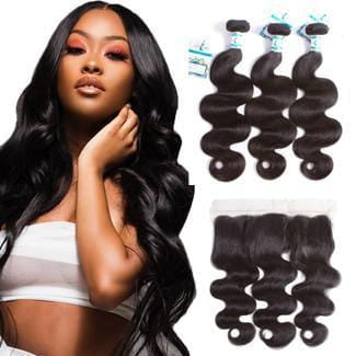 Lakihair Brazilian 3 Bundles With 13x4 Lace Frontal Closure Real Virgin Human Hair