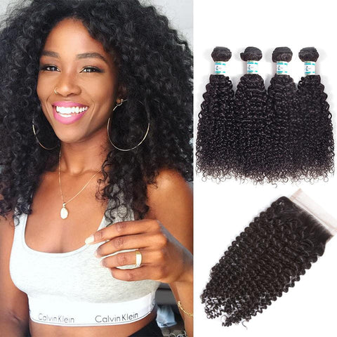 Lakihair 8A Indian Virgin Human Hair Kinky Curly 4 Bundles With Lace Closure 4x4