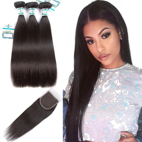 Lakihair 3 Bundles with Lace Closure Peruvian Straight Virgin Human Hair