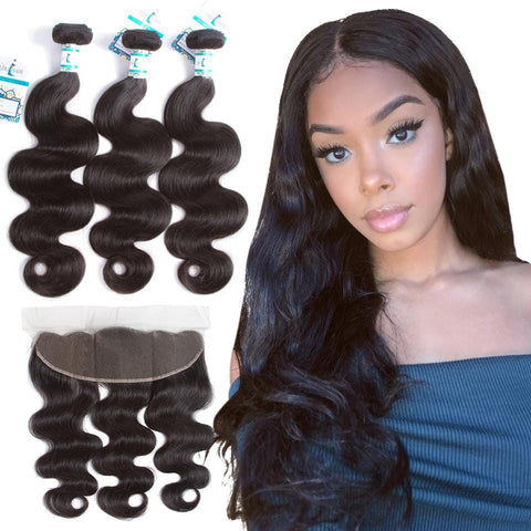 Lakihair Peruvian Body Wave 3 Bundles With Frontal Closure Ear To Ear