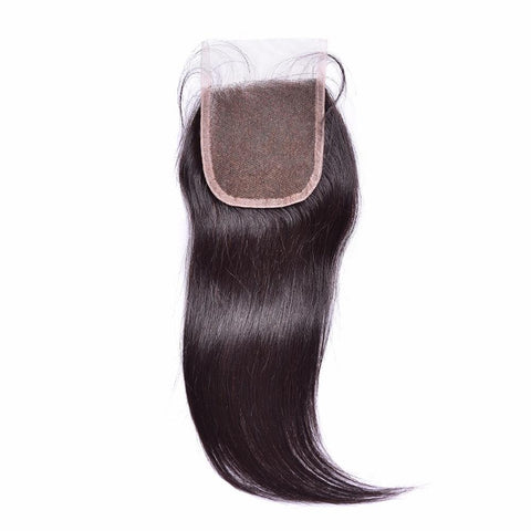 Lakihair 10A Brazilian Virgin Human Hair Straight Lace Closure 4x4 Natural Black With Baby Hair