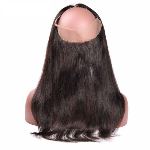 Lakihair 8A Brazilian Straight Hair 360 Lace Frontal Closure With Baby Hair Virgin Human Hair