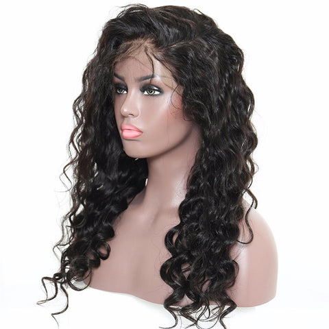 Lakihair Mid-Length Loose Wave Lace Front Wigs 180% Density Virgin Hair Wigs With Baby Hair