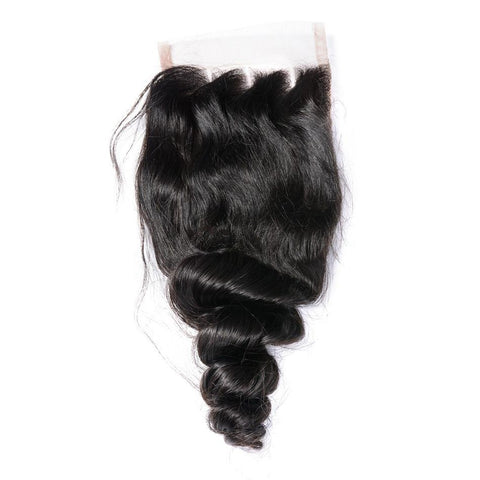 Lakihair 8A Grade Brazilian Virgin Human Hair Closure Loose Wave 4x4 Lace Closure
